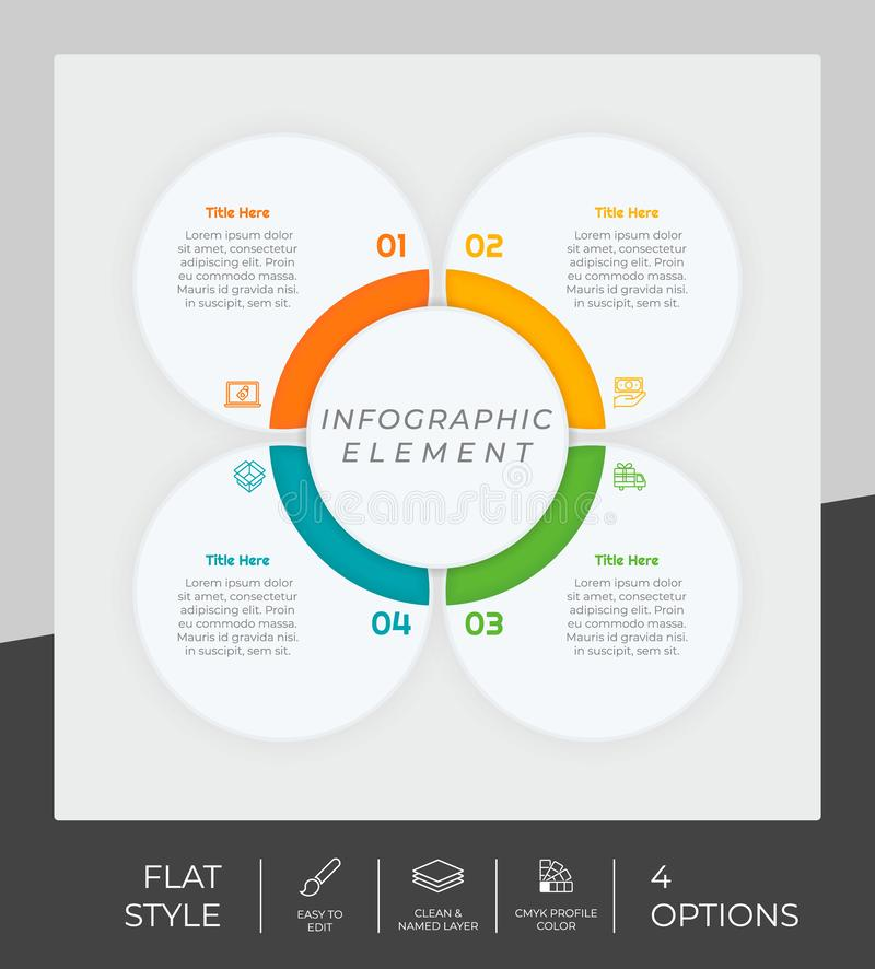 4 options of flat infographic  design with circle object for marketing. Option infographic can be used for presentation and. Business stock illustration