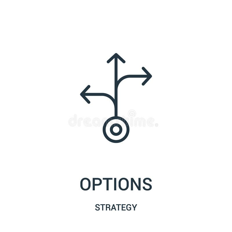 options icon vector from strategy collection. Thin line options outline icon vector illustration. Linear symbol vector illustration