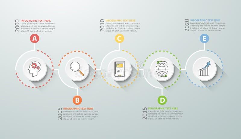 Options infographic de chronologie 5, concept d'affaires infographic illustration stock