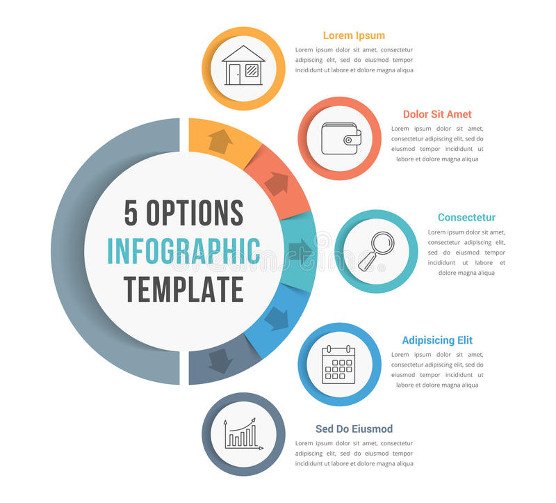 5 Options Infographic Template. With line icons for presentations, reports, brochures etc, can be used as steps, workflow, process vector illustration