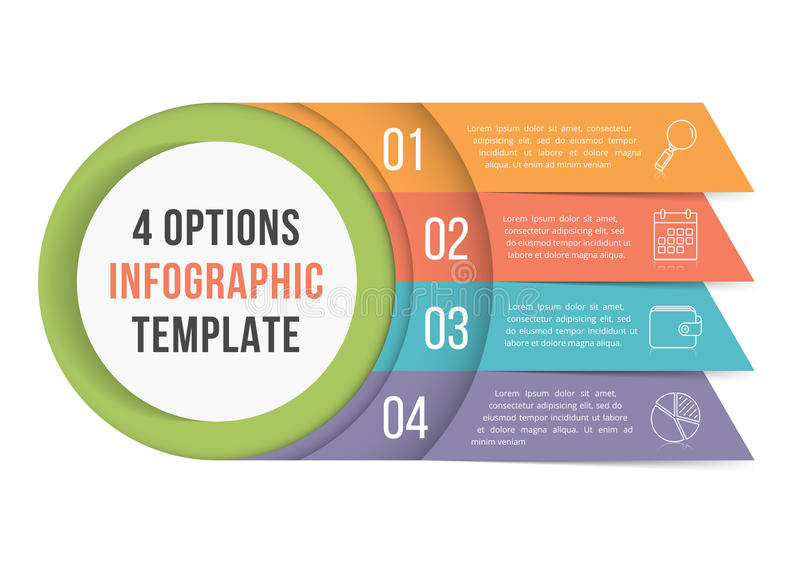 4 Options Infographics. Infographic template with four steps or options, workflow, process diagram vector illustration