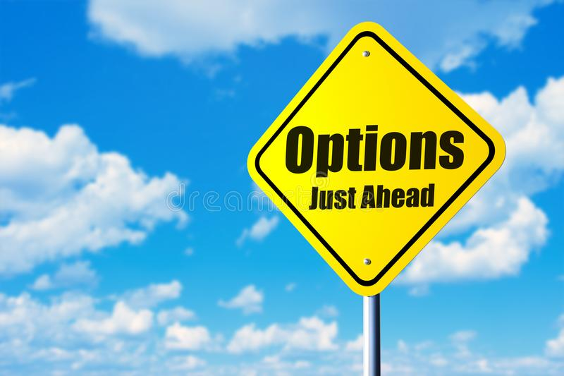 Options just ahead stock photography