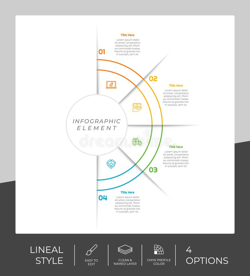 4 options of line infographic  design with circle object for marketing. Option infographic can be used for presentation and. Business royalty free illustration