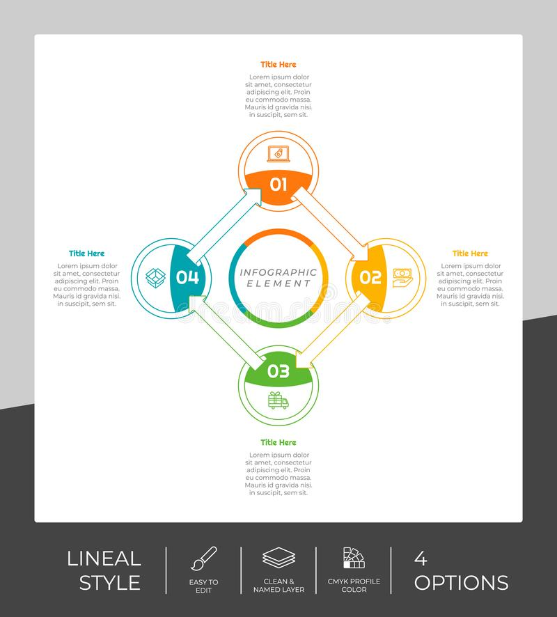 4 options of line infographic  design with circle object for marketing. Option infographic can be used for presentation and. Business vector illustration