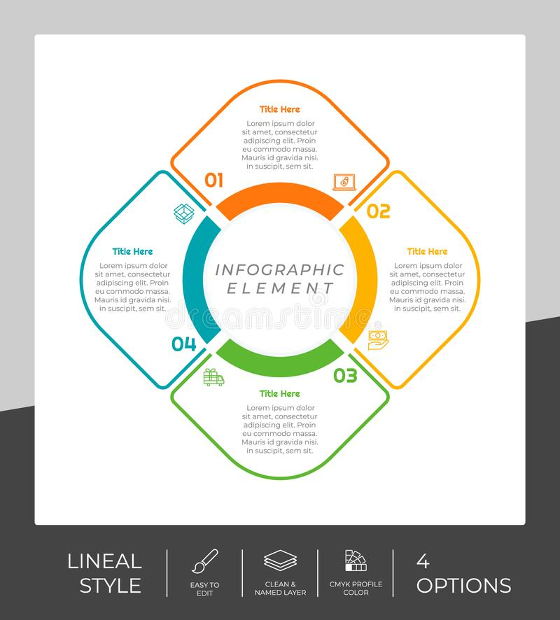 4 options of line infographic  design with circle object for marketing. Option infographic can be used for presentation and. Business stock illustration