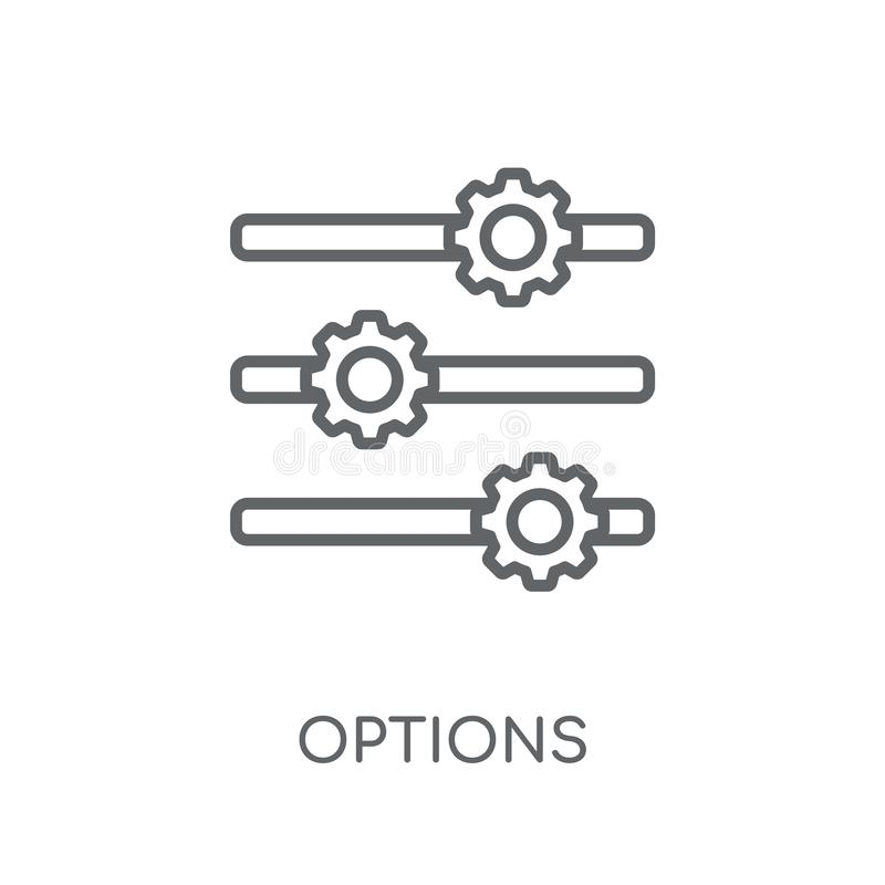 Options linear icon. Modern outline Options logo concept on whit stock illustration
