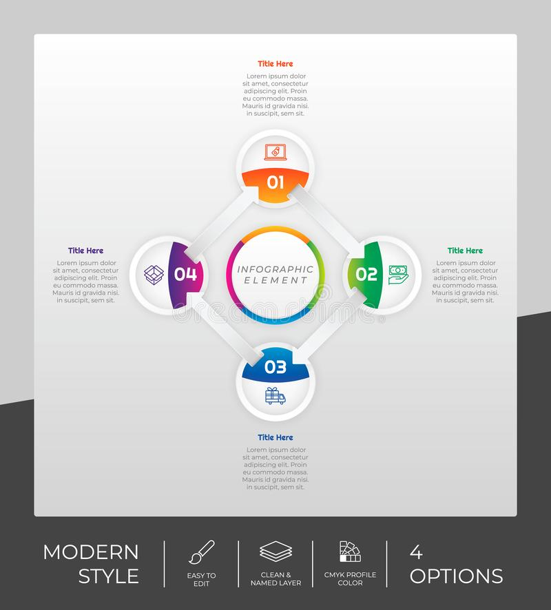 4 options of modern infographic  design with circle object for marketing. Option infographic can be used for presentation. And business stock illustration
