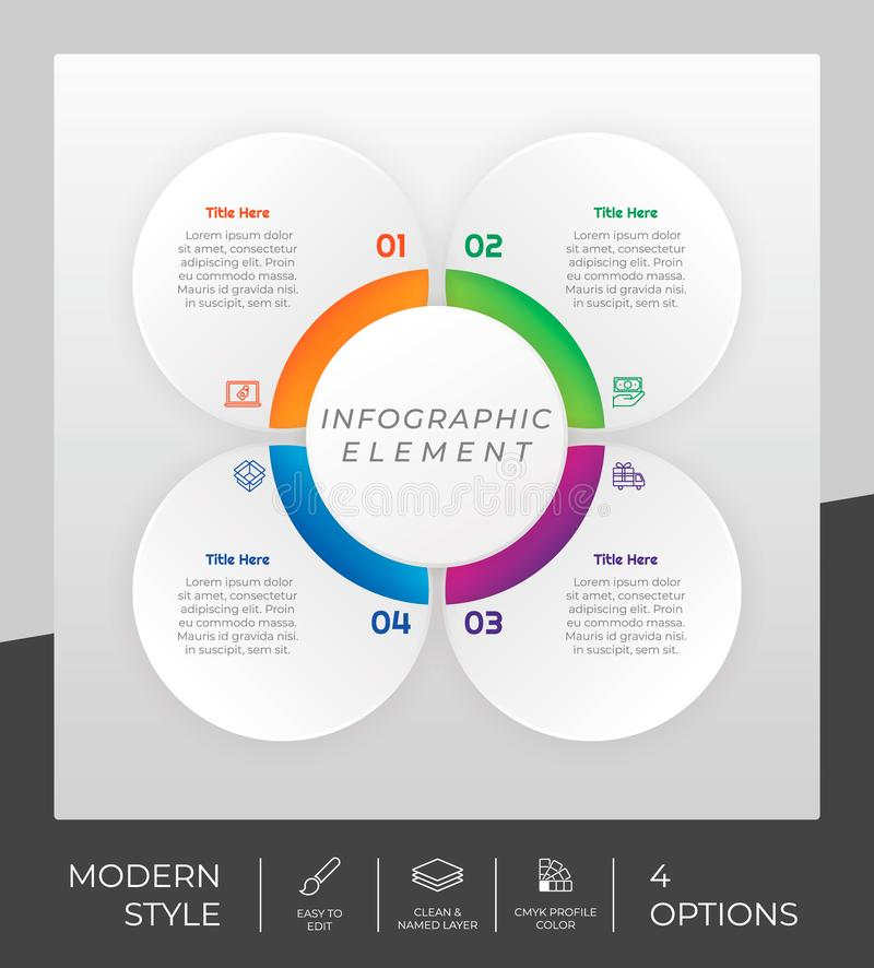 4 options of modern infographic  design with circle object for marketing. Option infographic can be used for presentation. And business royalty free illustration