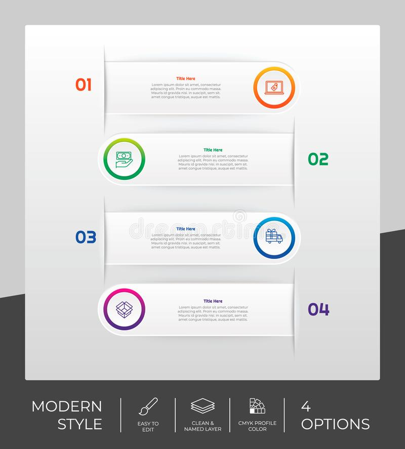 4 options of modern infographic  design with circle object for marketing. Option infographic can be used for presentation. And business vector illustration