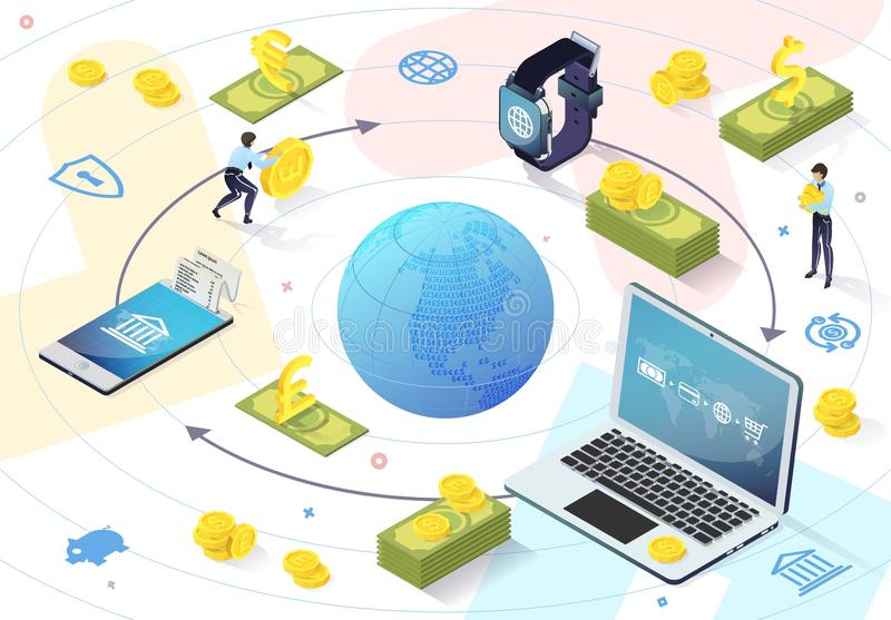 Options Using Electronic Payment System. Vector. Options Using Electronic Payment System. E-Banking System. Online Payment System. Internet Service. Modern royalty free illustration