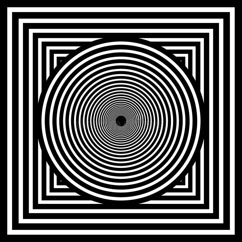 Optisch art Geomrtric zwart-witte abstracte illusie Vector royalty-vrije illustratie