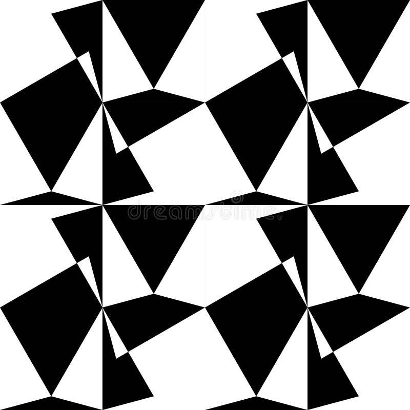 OPTISCH KUNST NAADLOOS VECTORpatroon GEOMETRISCHE SHAPE-TEXTUUR VEELHOEK ZWART-WIT ACHTERGROND stock illustratie