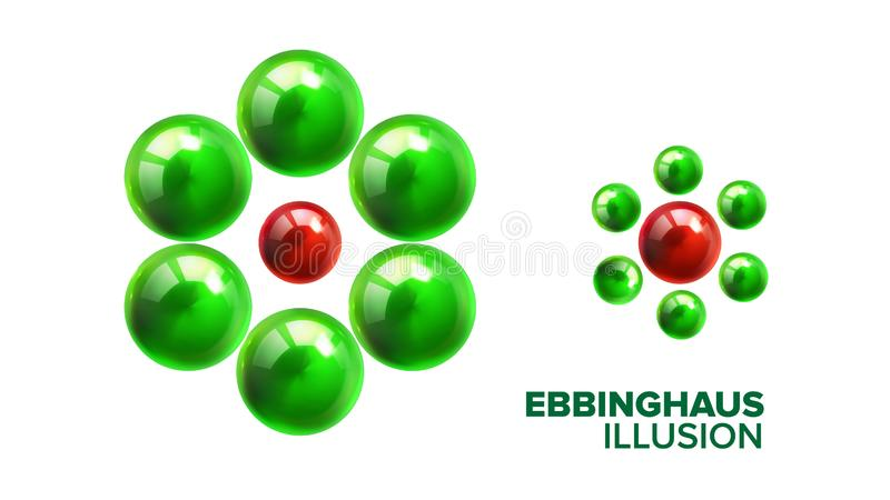 Optische Ebbinghaus-Illusion mit Ball-Vektor vektor abbildung