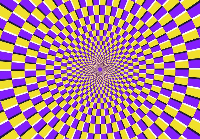 Optische gewundene Illusion Magisches psychedelisches Muster, Strudelillusionen und hypnotische abstrakte Hintergrundvektorillust lizenzfreie abbildung