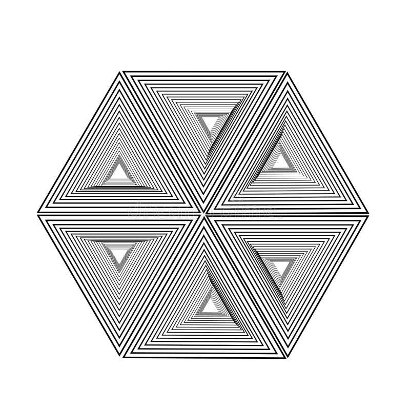 Optische illusie die zeshoek met driehoek vormen royalty-vrije illustratie