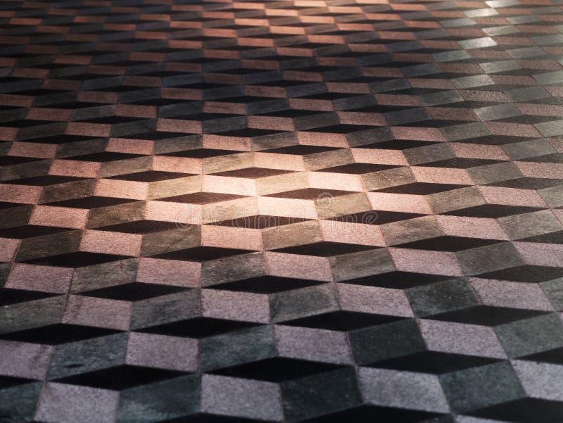 Optische illusie drie dikke vloertegels royalty-vrije stock afbeeldingen