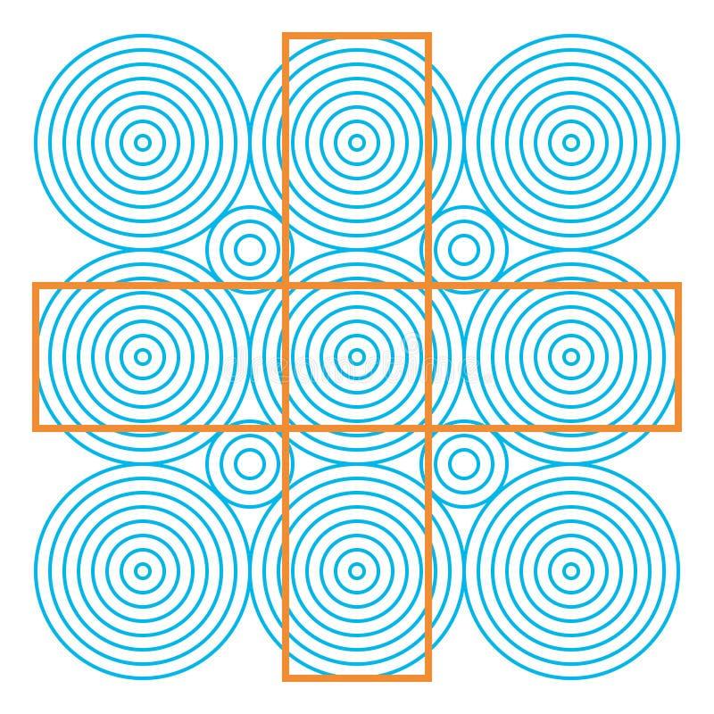 Optische illusie, kleurrijke blokken, verschillende vormen vector illustratie