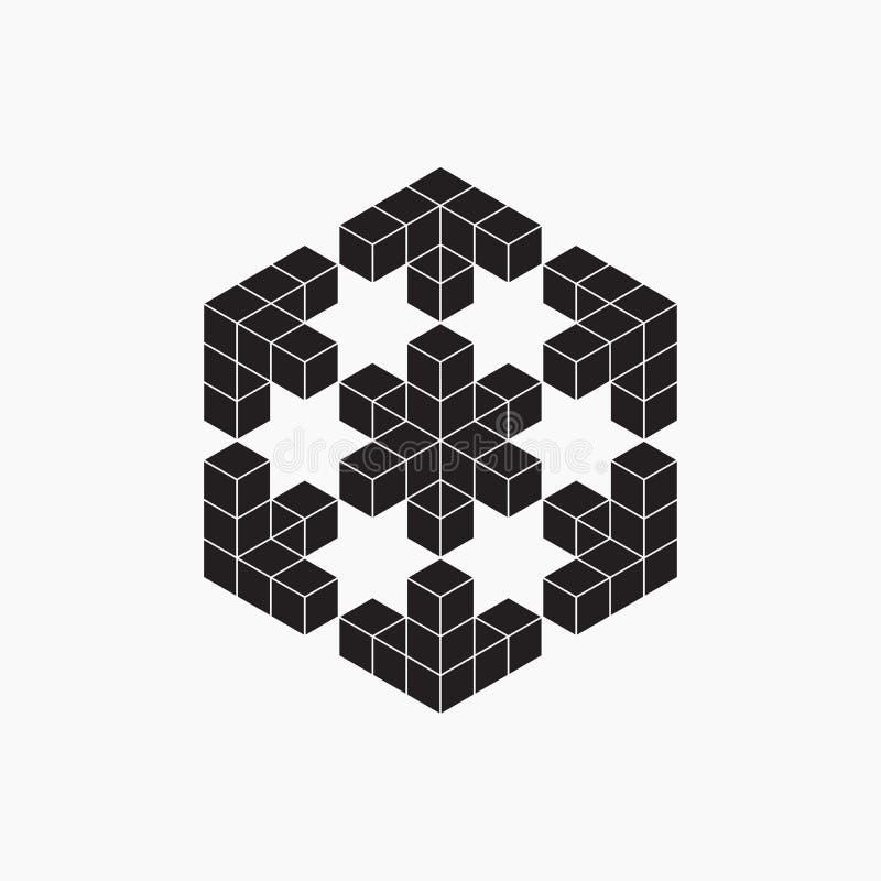 Optische illusie, kubus, geometrisch element royalty-vrije illustratie