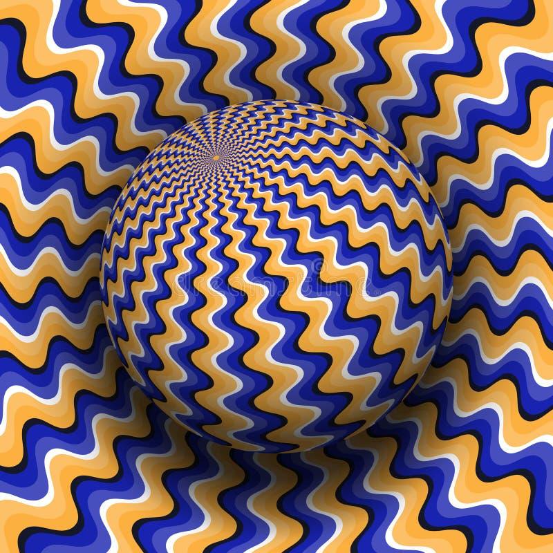 Optische illusie vectorillustratie Blauw oranje golvend gevormd gebied dat boven dezelfde oppervlakte stijgt royalty-vrije illustratie