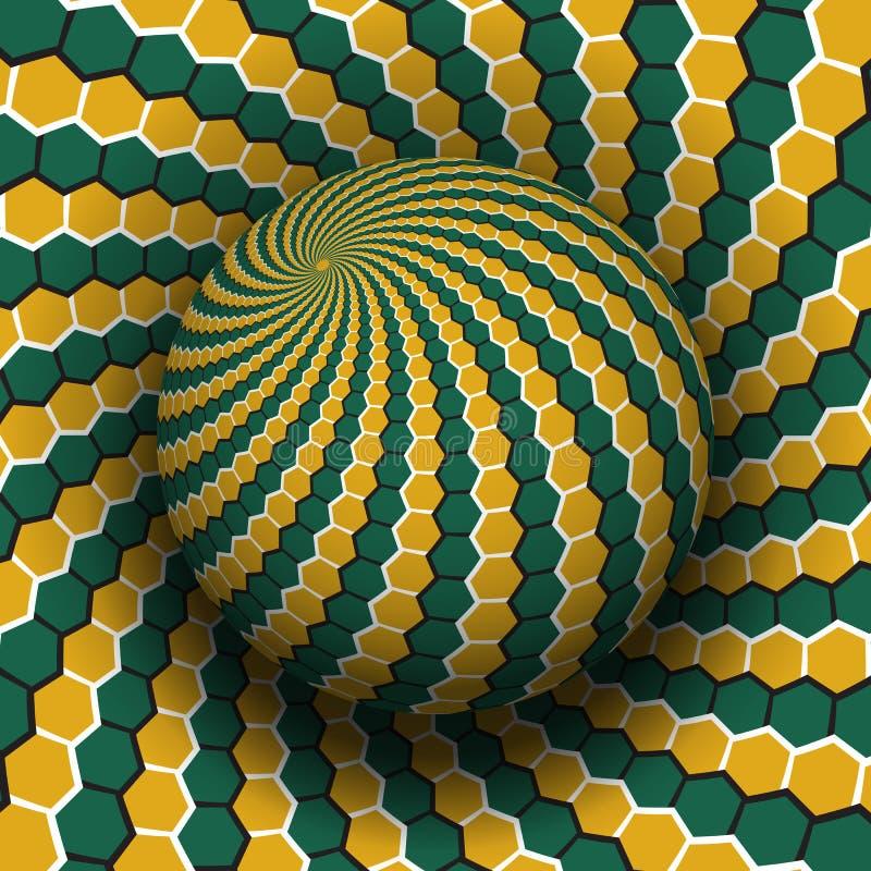 Optische illusie vectorillustratie Geelgroen zeshoeken gevormd gebied dat boven dezelfde oppervlakte stijgt stock illustratie