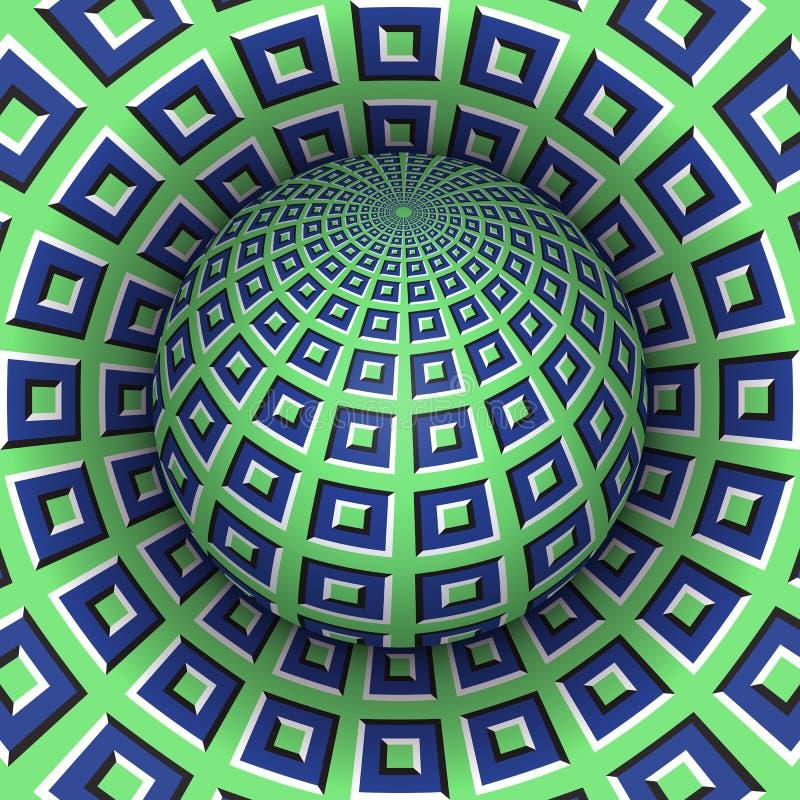 Optische illusie vectorillustratie Geruit gebied die boven het gat stijgen Groenachtig blauwe gevormde voorwerpen vector illustratie
