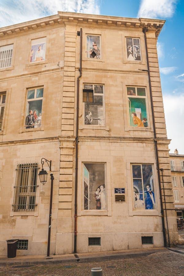 Optische illusiefresko's in Avignon royalty-vrije stock foto's