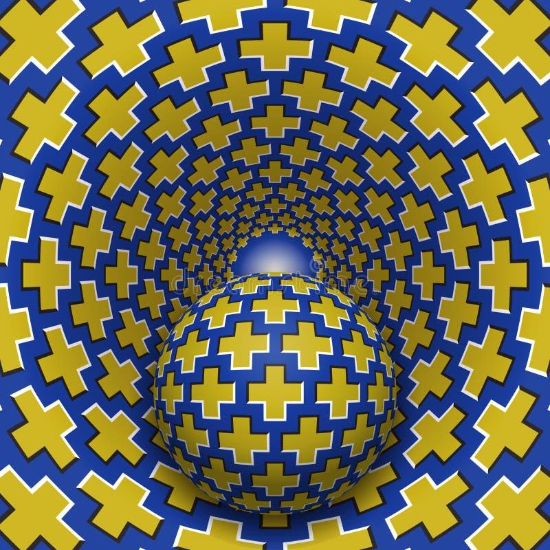 Optische illusieillustratie De bal beweegt zich in gevlekt gat Gele kruisen op blauwe patroonvoorwerpen royalty-vrije illustratie
