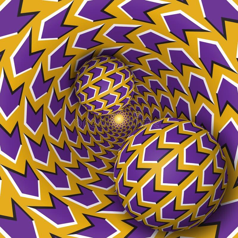 Optische illusieillustratie Twee ballen bewegen zich op roterende trechter stock illustratie