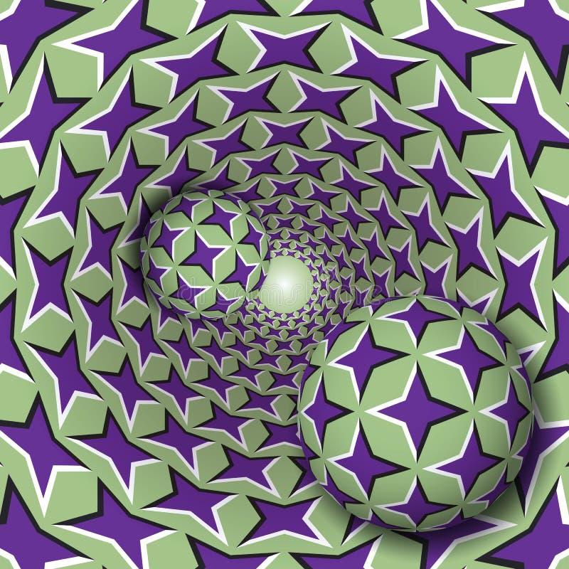 Optische illusieillustratie Twee ballen met een vier gericht sterrenpatroon bewegen op roterende purpere sterren groene trechter vector illustratie