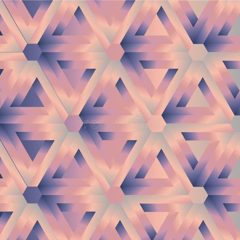 Optische Illusion des Hexagonkaleidoskops, die penrose Dreiecke bildet lizenzfreie abbildung