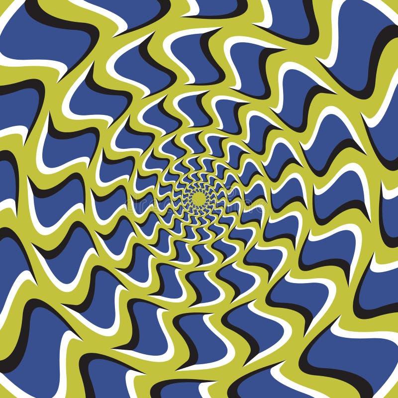 Optische Illusion-Hintergrund Blaue Haken rotiert Kreis- von der Mitte auf grünem Hintergrund vektor abbildung