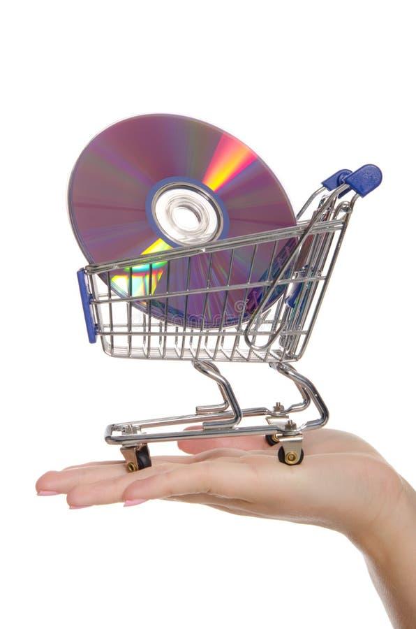 Optische Platten in der Einkaufenlaufkatze auf der Palme lizenzfreie stockfotografie
