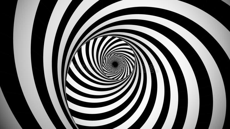 Optische spinnende Schwarzweiss-Illusion vektor abbildung