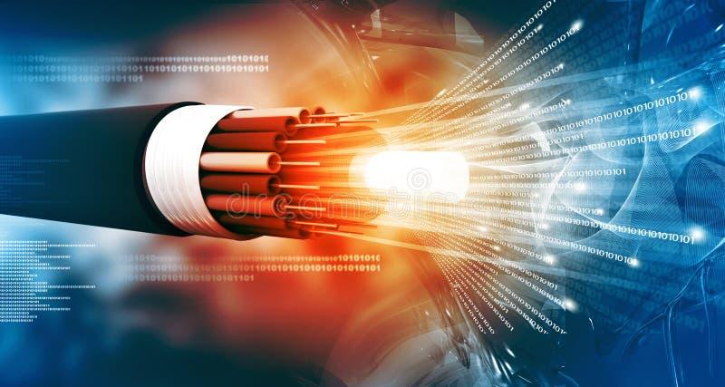 Optische vezelkabel met binaire kabeljauwen royalty-vrije illustratie