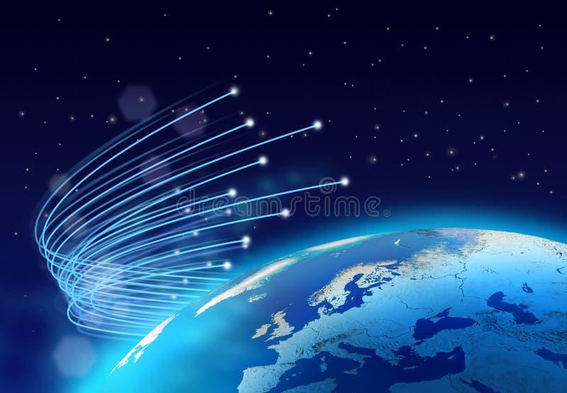 Optische vezelsInternet snelheidsplaneet royalty-vrije illustratie
