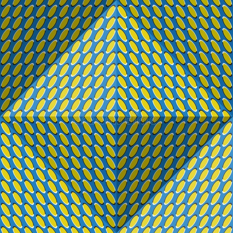 Optischer Bewegungsillusions-Zusammenfassungshintergrund Ellipse kopierte nahtloses Muster in der vierflächigen Pyramidenform lizenzfreie abbildung