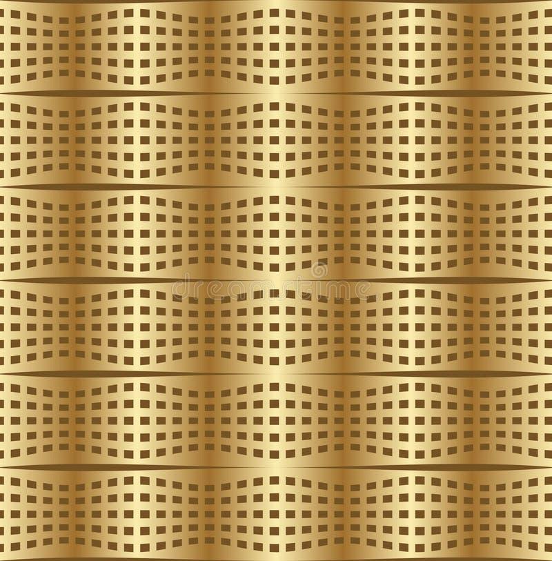 Optischer Kunsthintergrund mit 3d Illusion, verformtes goldenes Metallgitter stock abbildung