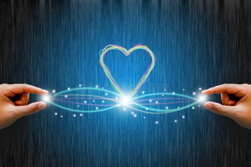 Optisk anslutning för fiber med linjen hjärta man för begreppskyssförälskelse till kvinnan royaltyfri bild