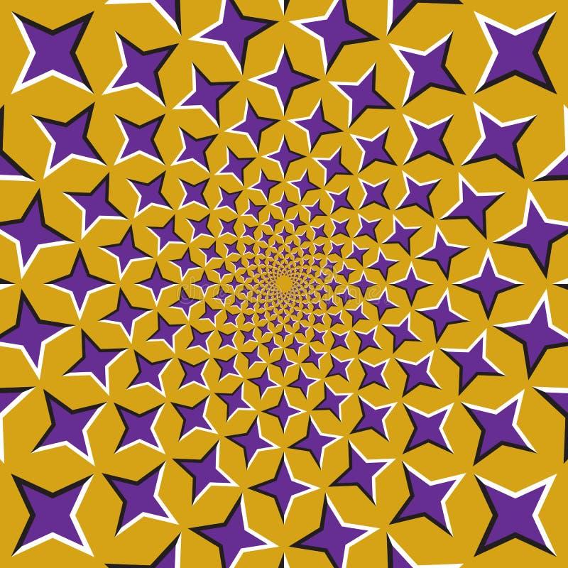 optisk bakgrundsillusion Lilor fyra pekade stjärnor flyttar sig runt från mitten på guld- bakgrund royaltyfri illustrationer