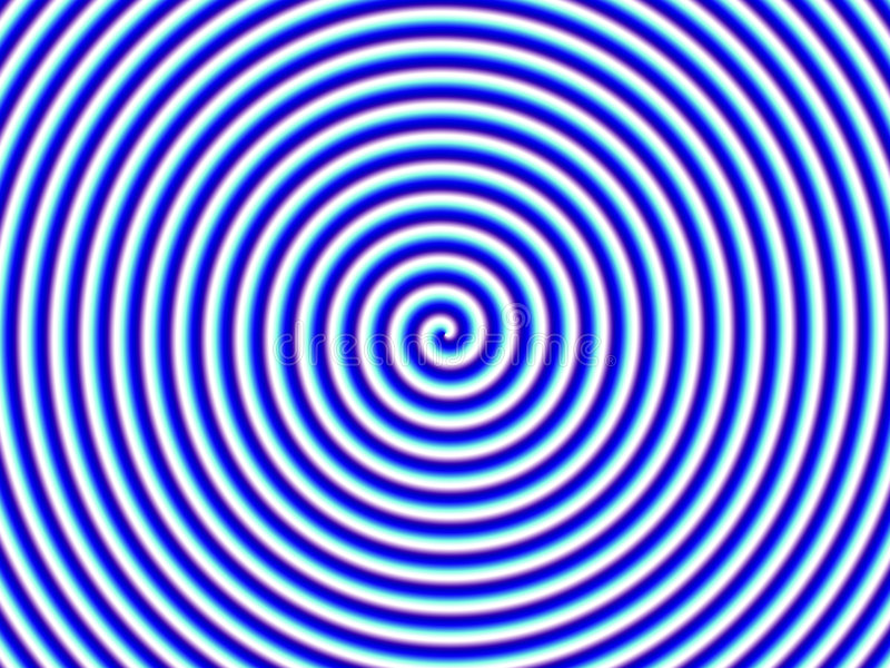 optisk enkel spiral white för blå hypnoillusion vektor illustrationer