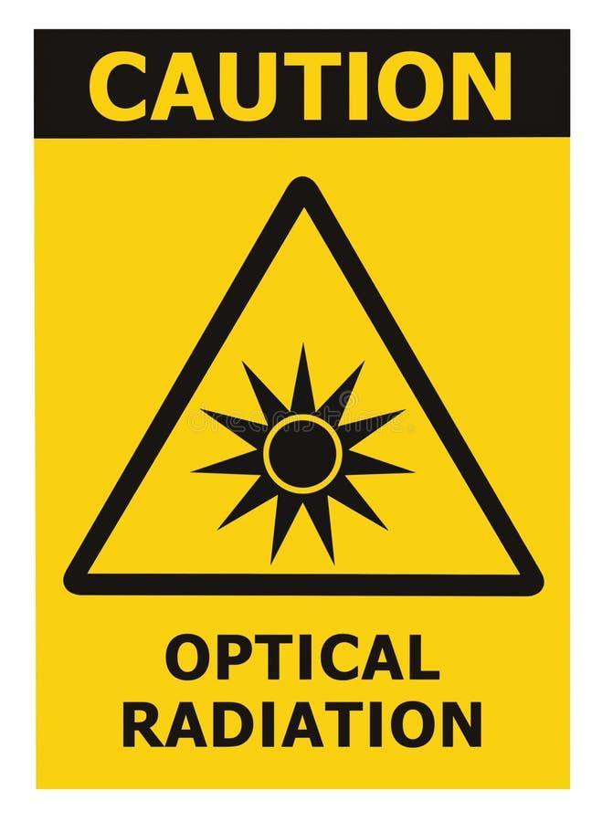Optisk etikett för klistermärke för tecken för text för varning för fara för säkerhet för varning för utstrålningsfara, konstgjor stock illustrationer