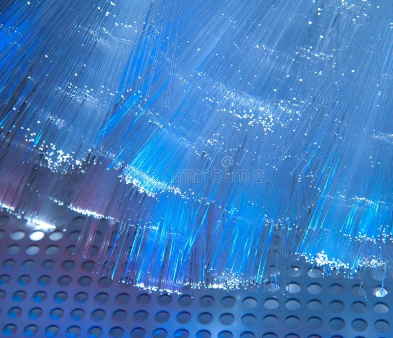 Optisk fiber föreställer med specificerar och tänder royaltyfri foto