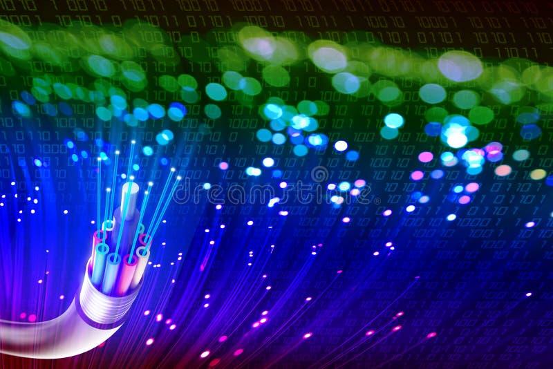 Optisk fiber med ljus arkivbild