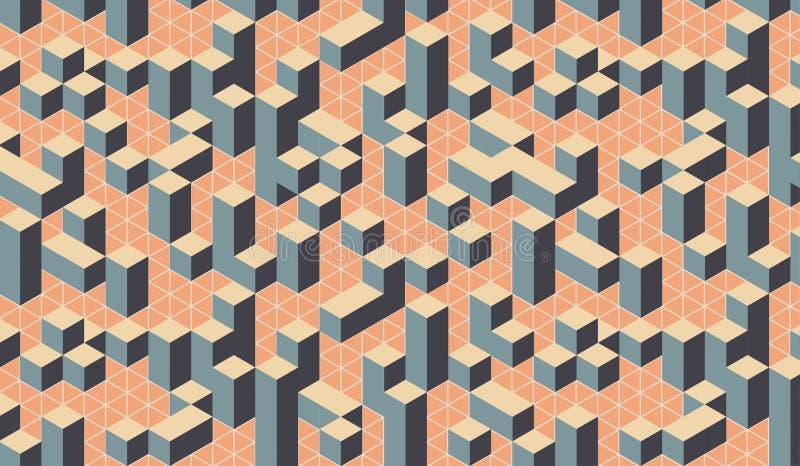 Optisk fyrkantig stadsmodell för geometrisk färgrik effekt 3D stock illustrationer