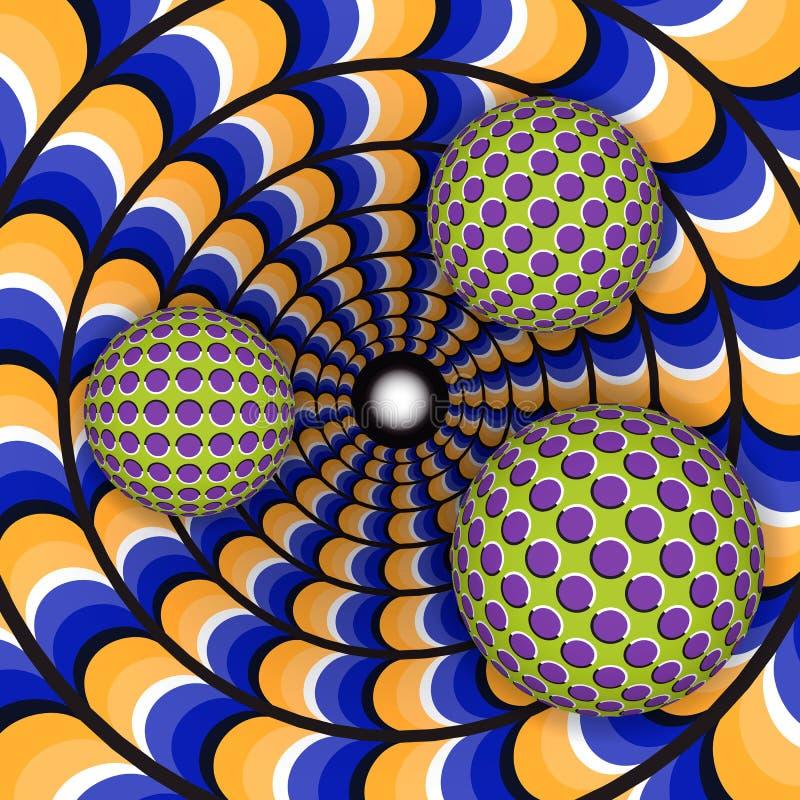 Optisk illusion av rotation av boll tre omkring av ett rörande hål royaltyfri illustrationer