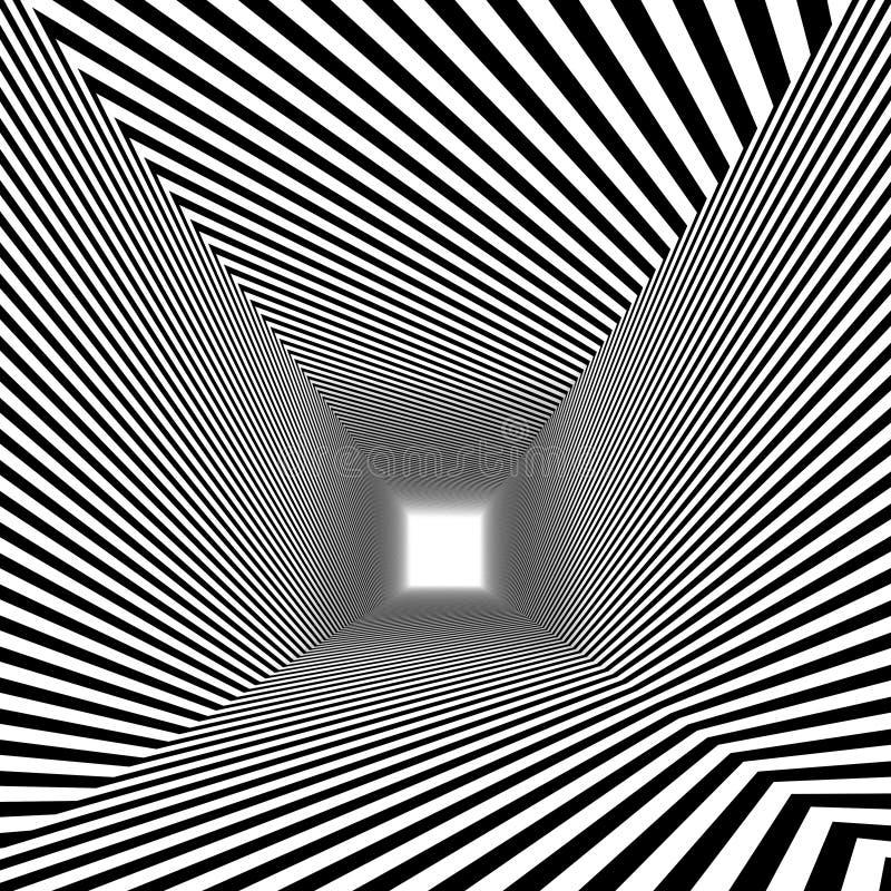 Optisk illusion , 3d abstrakt tunnel royaltyfria bilder