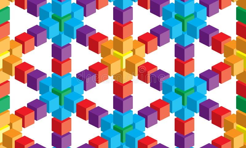 Optisk illusion, färgrik abstrakt vektorkub och fyrkantbakgrund royaltyfri illustrationer