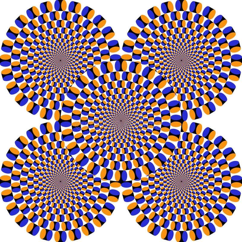 Optisk illusion, färgrika kvarter stock illustrationer