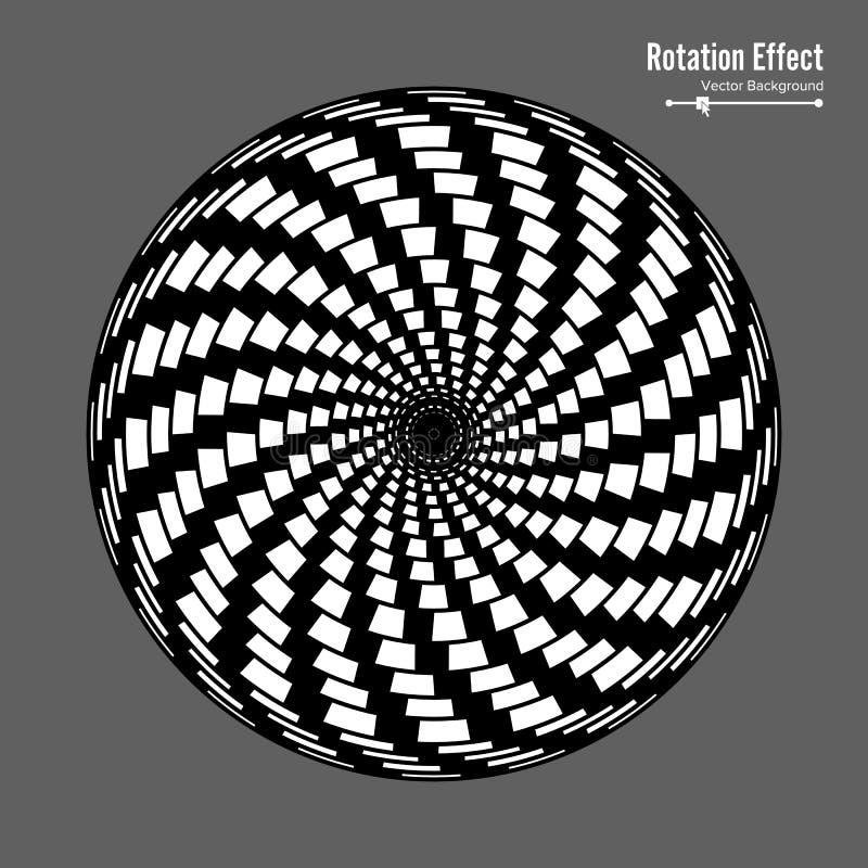 optisk illusion Konst för vektor 3d Dynamisk effekt för rotation Snurrandecirkulering Virvelpölcirklar Geometrisk magisk bakgrund royaltyfri illustrationer