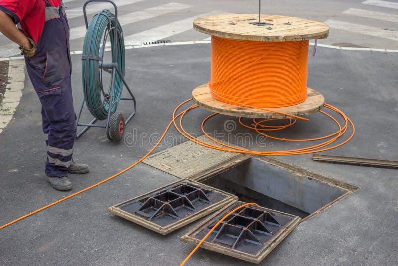 Optisk installation 2 för fiber arkivbilder